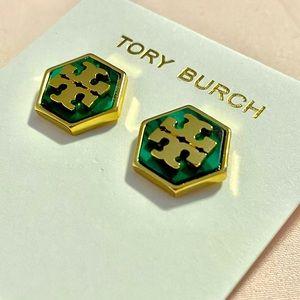 Tory Burch green and gold hexagon earrings